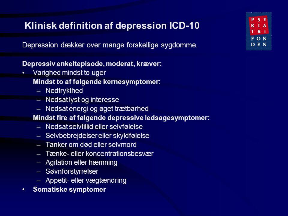 Klinisk definition af depression ICD-10