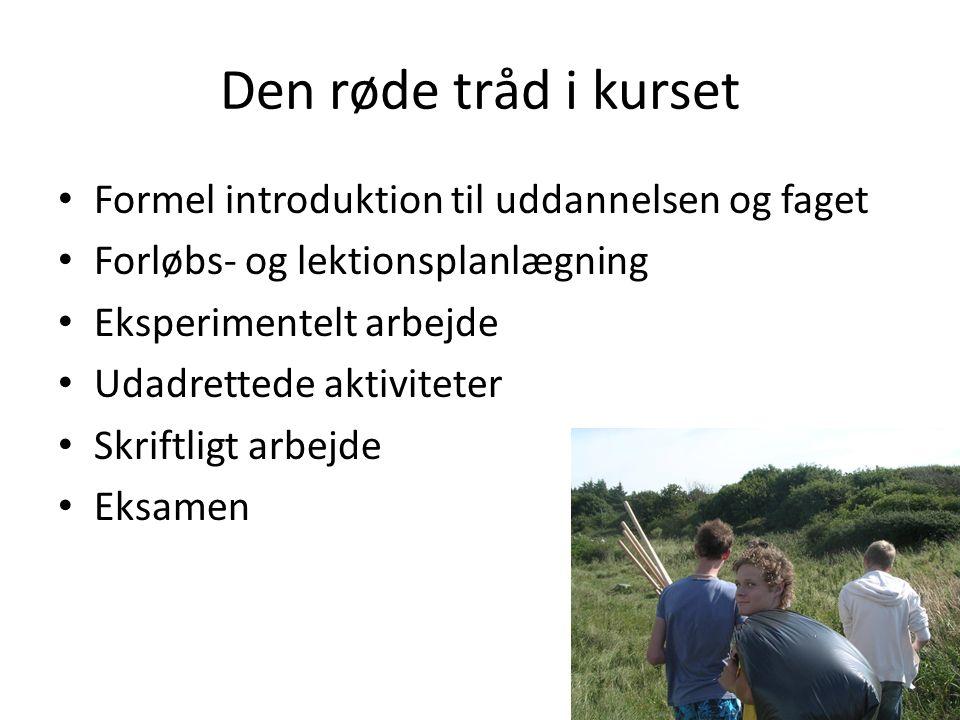 Den røde tråd i kurset Formel introduktion til uddannelsen og faget