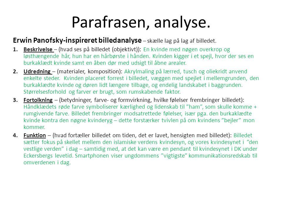 Parafrasen, analyse. Erwin Panofsky-inspireret billedanalyse – skælle lag på lag af billedet.