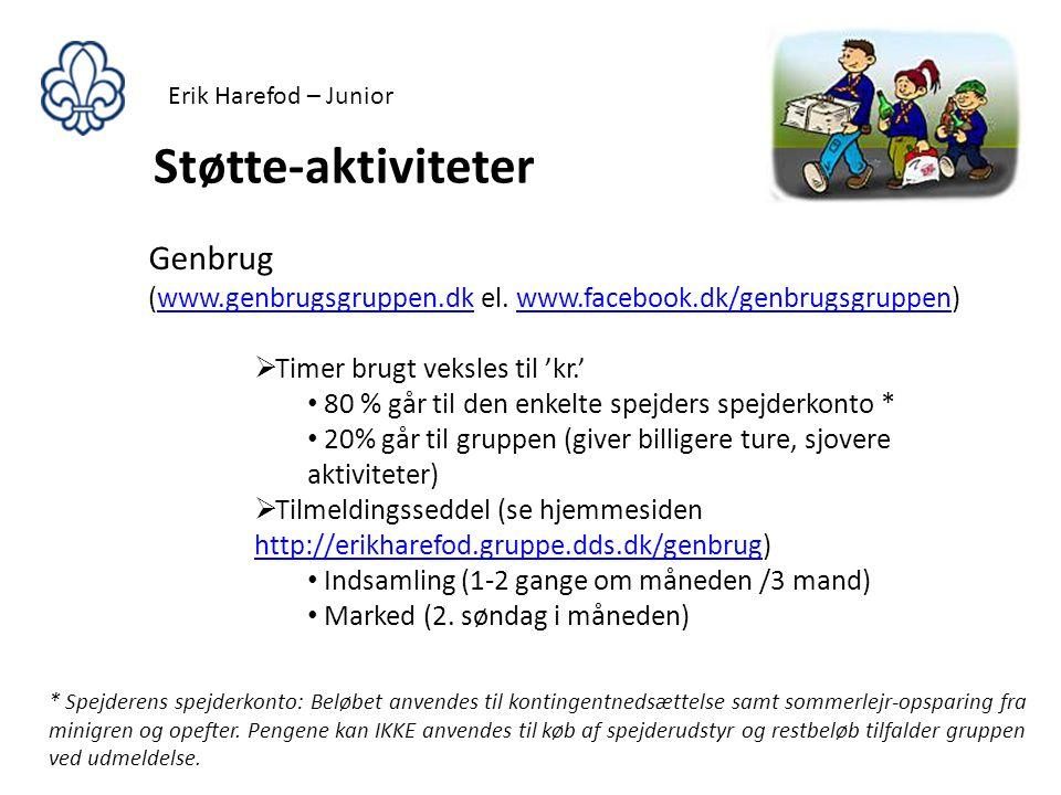Erik Harefod – Junior Støtte-aktiviteter. Genbrug (www.genbrugsgruppen.dk el. www.facebook.dk/genbrugsgruppen)