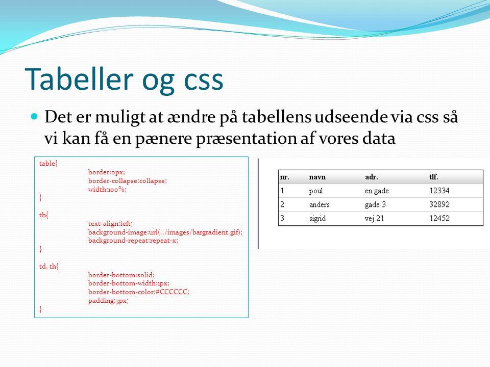 Tabeller og css Det er muligt at ændre på tabellens udseende via css så vi kan få en pænere præsentation af vores data.