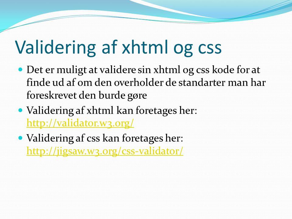 Validering af xhtml og css