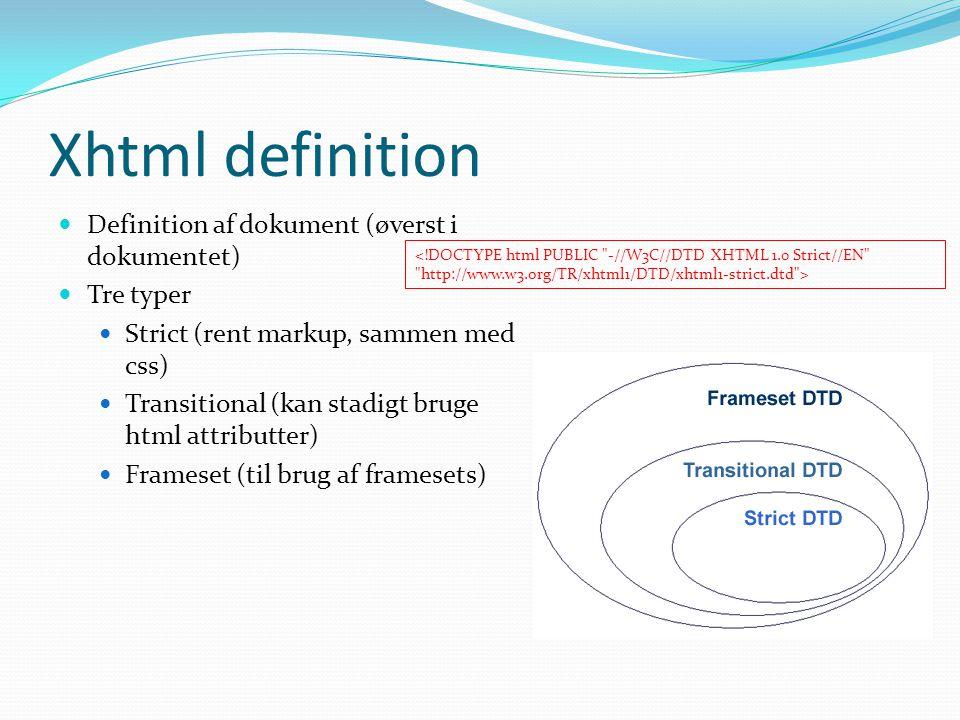 Xhtml definition Definition af dokument (øverst i dokumentet)