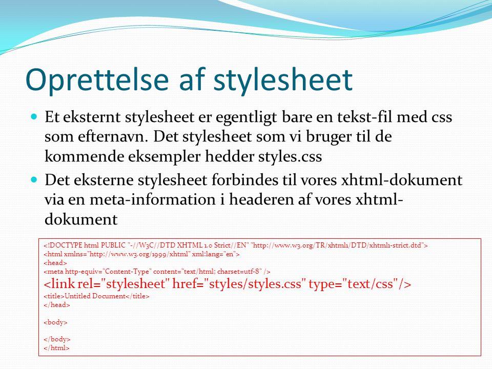 Oprettelse af stylesheet