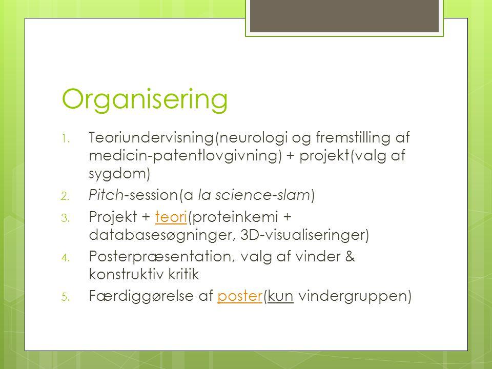 Organisering Teoriundervisning(neurologi og fremstilling af medicin-patentlovgivning) + projekt(valg af sygdom)