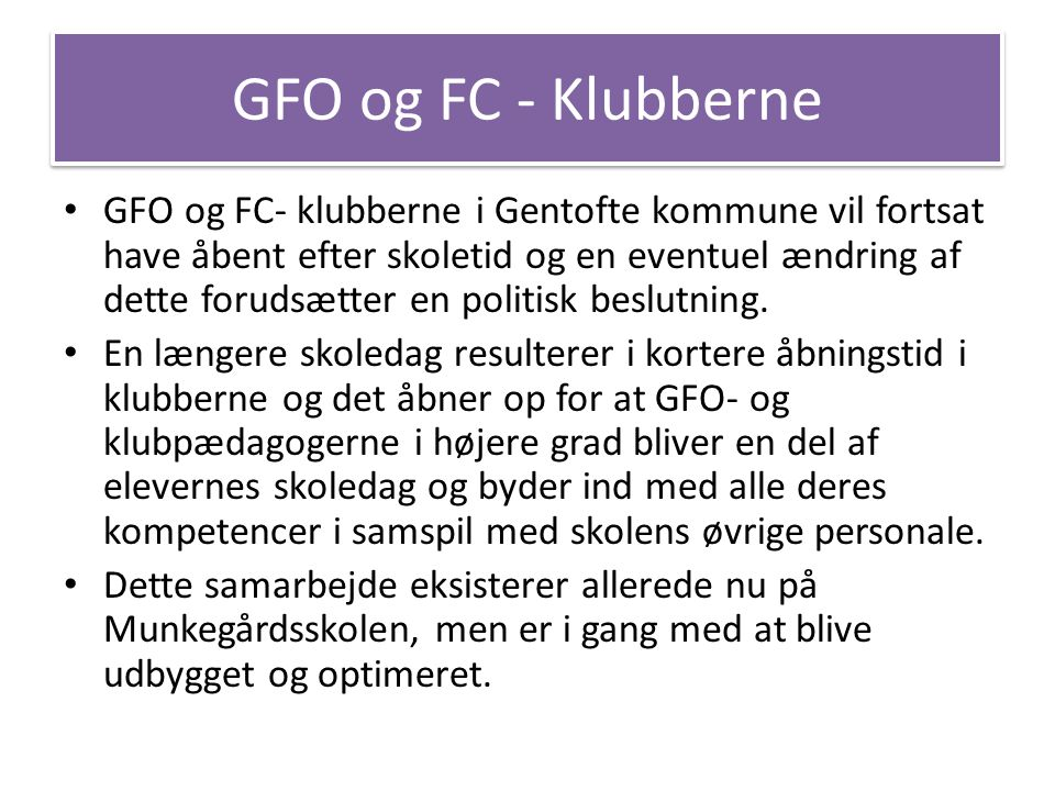 GFO og FC - Klubberne