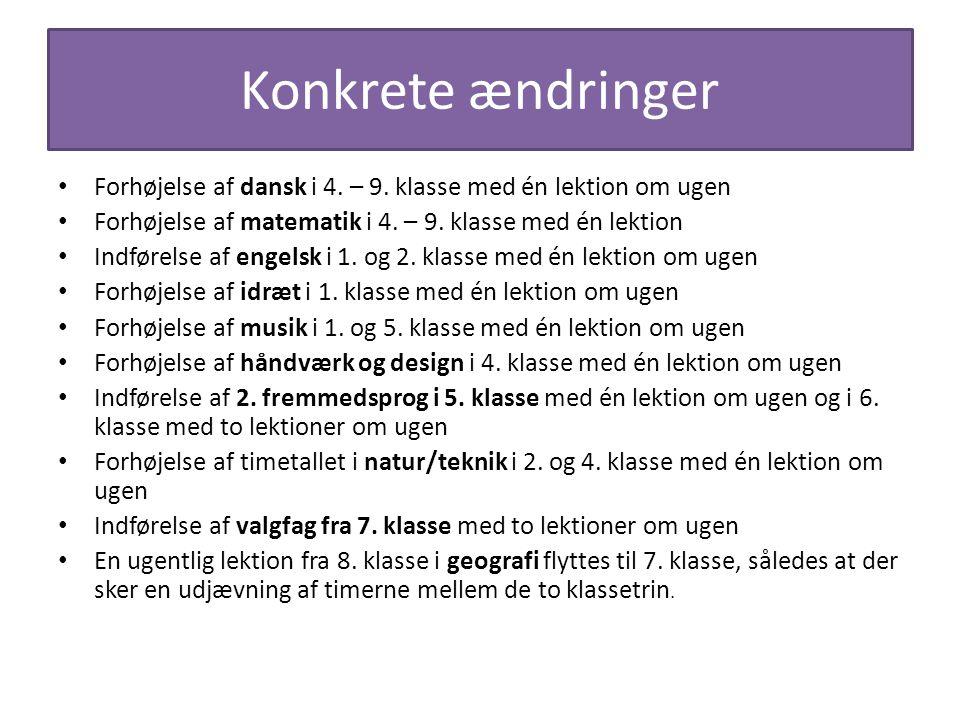 Konkrete ændringer Forhøjelse af dansk i 4. – 9. klasse med én lektion om ugen. Forhøjelse af matematik i 4. – 9. klasse med én lektion.