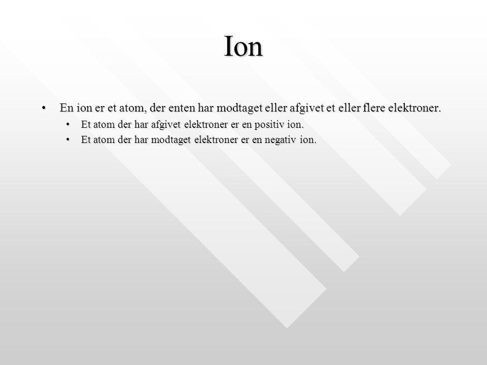 Ion En ion er et atom, der enten har modtaget eller afgivet et eller flere elektroner. Et atom der har afgivet elektroner er en positiv ion.