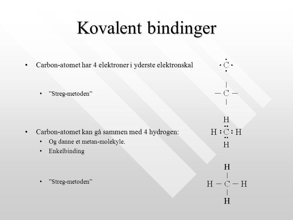 Kovalent bindinger Carbon-atomet har 4 elektroner i yderste elektronskal. Streg-metoden Carbon-atomet kan gå sammen med 4 hydrogen: