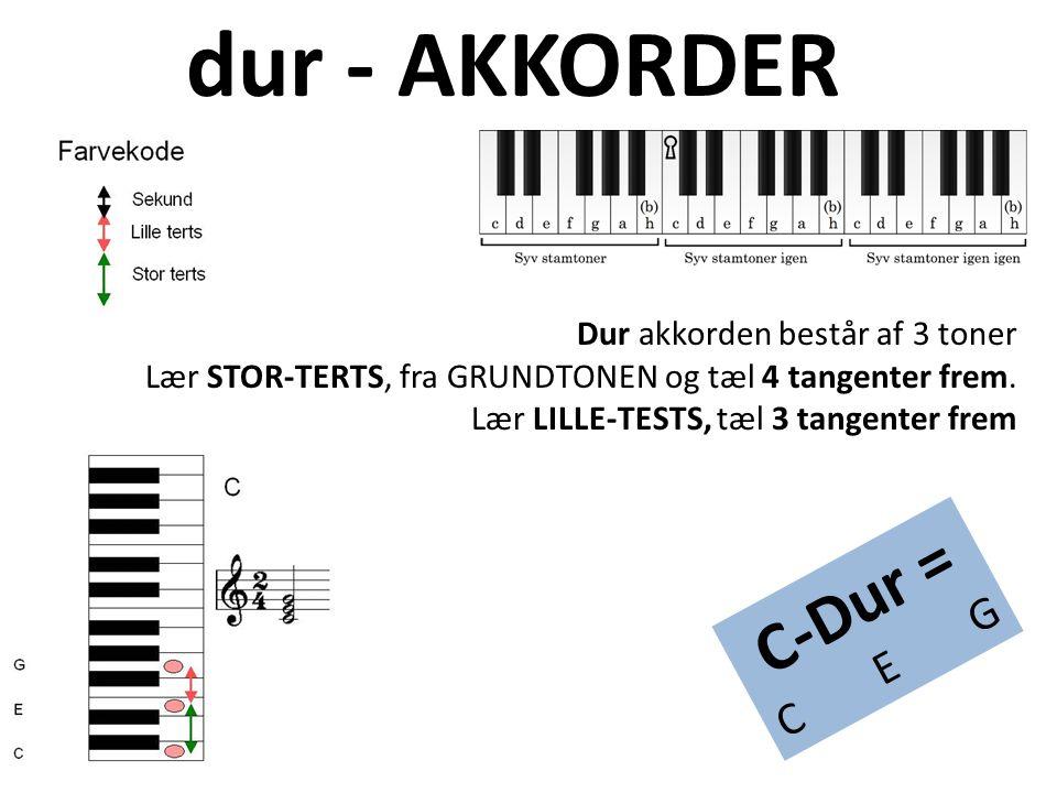 dur - AKKORDER C-Dur = C E G Dur akkorden består af 3 toner