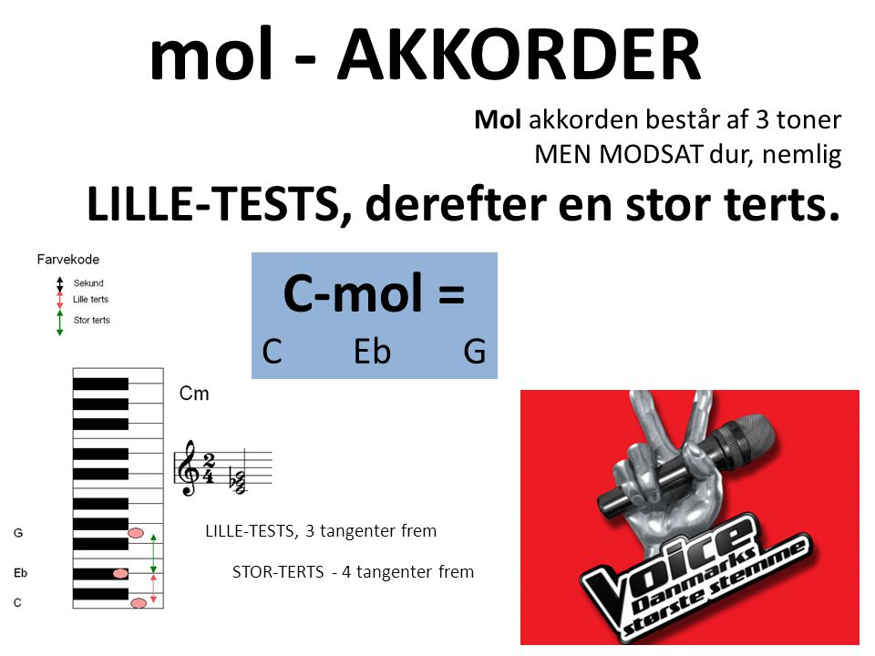 mol - AKKORDER C-mol = LILLE-TESTS, derefter en stor terts. C Eb G