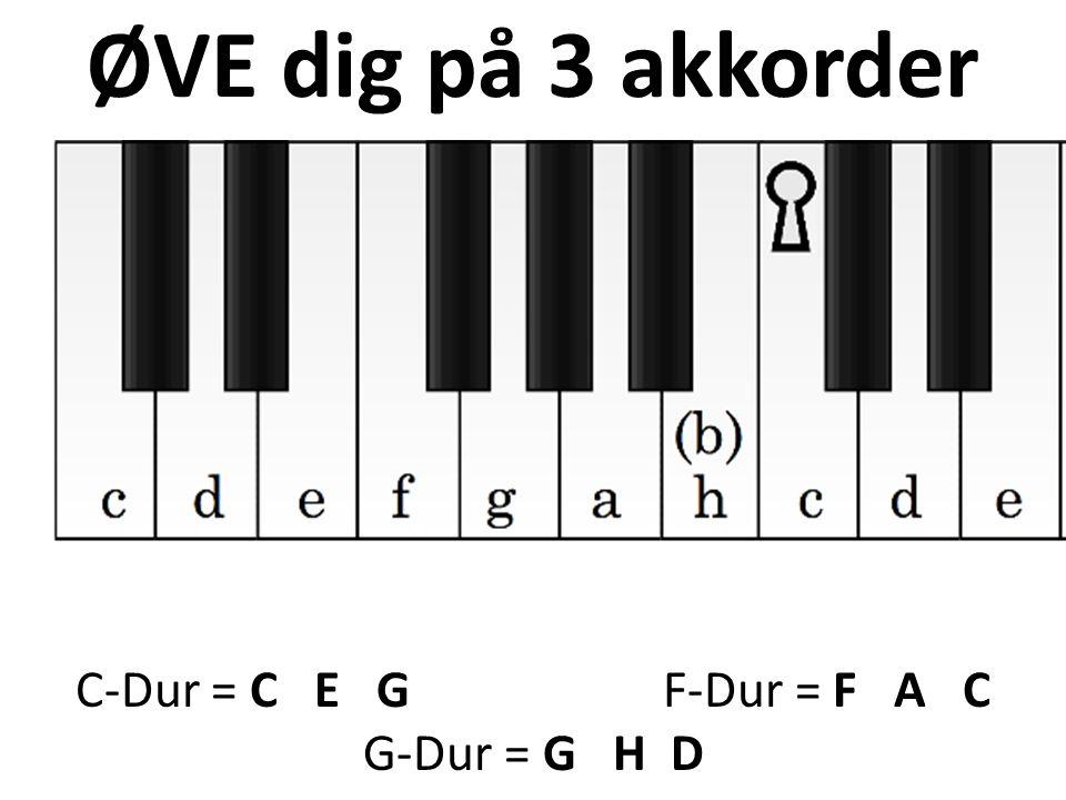 ØVE dig på 3 akkorder C-Dur = C E G F-Dur = F A C G-Dur = G H D