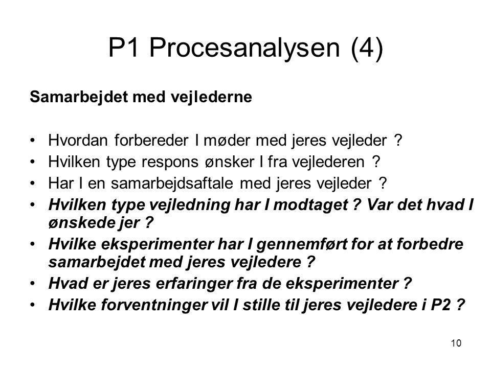 P1 Procesanalysen (4) Samarbejdet med vejlederne