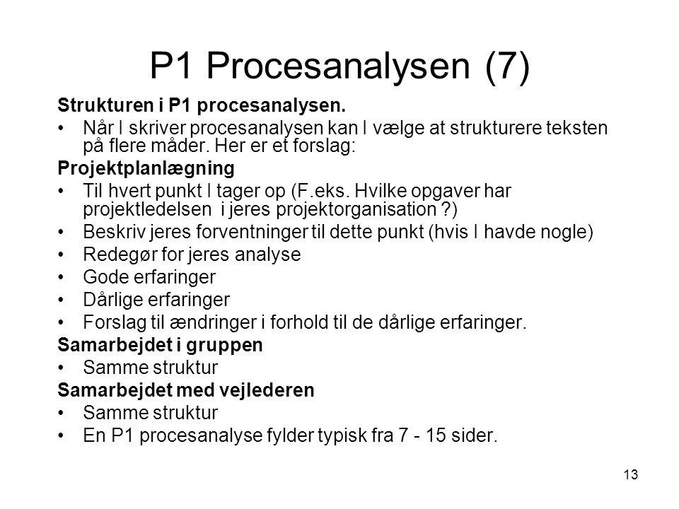 P1 Procesanalysen (7) Strukturen i P1 procesanalysen.
