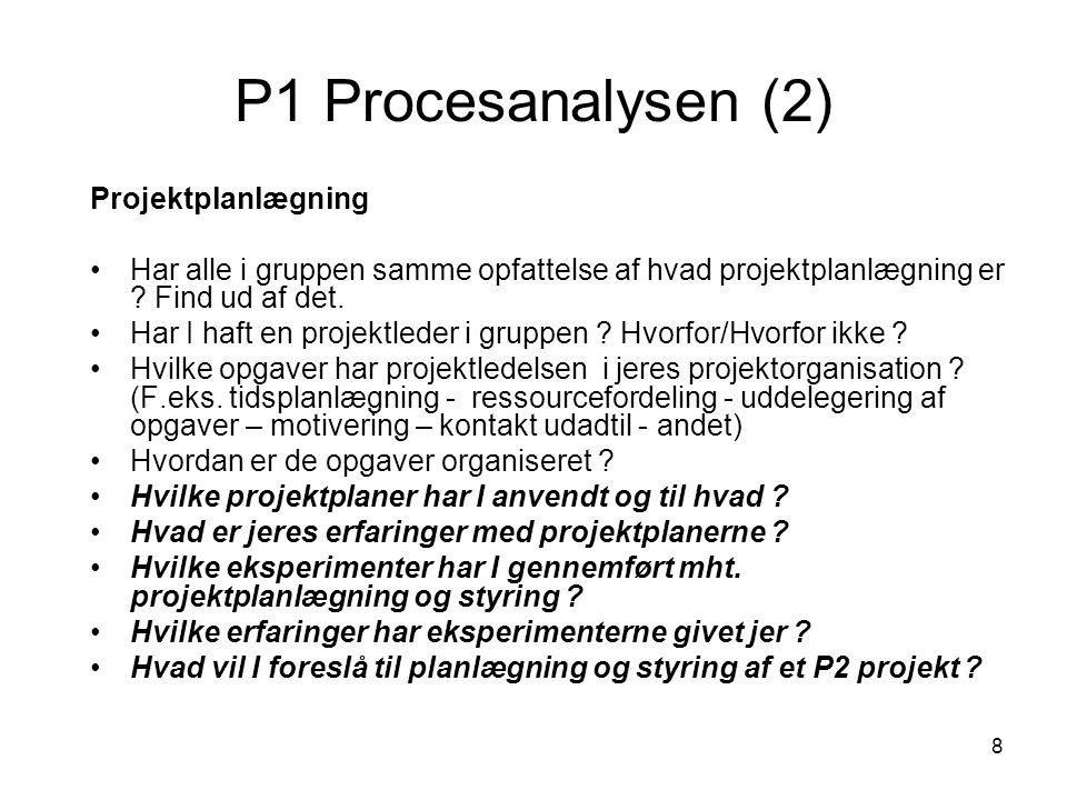 P1 Procesanalysen (2) Projektplanlægning
