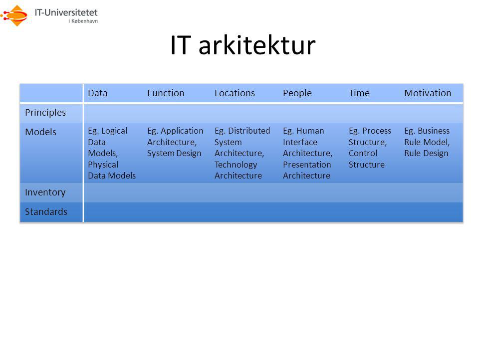 IT arkitektur Data Function Locations People Time Motivation