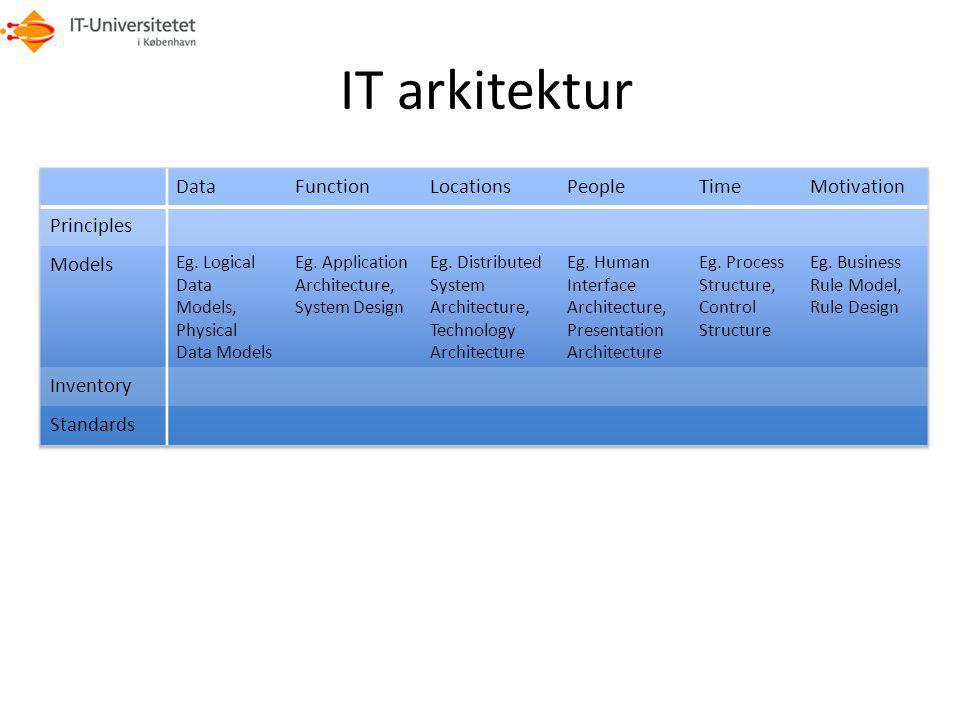IT arkitektur Data Function Locations People Time Motivation