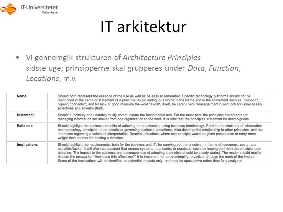 IT arkitektur Vi gennemgik strukturen af Architecture Principles sidste uge; principperne skal grupperes under Data, Function, Locations, m.v.