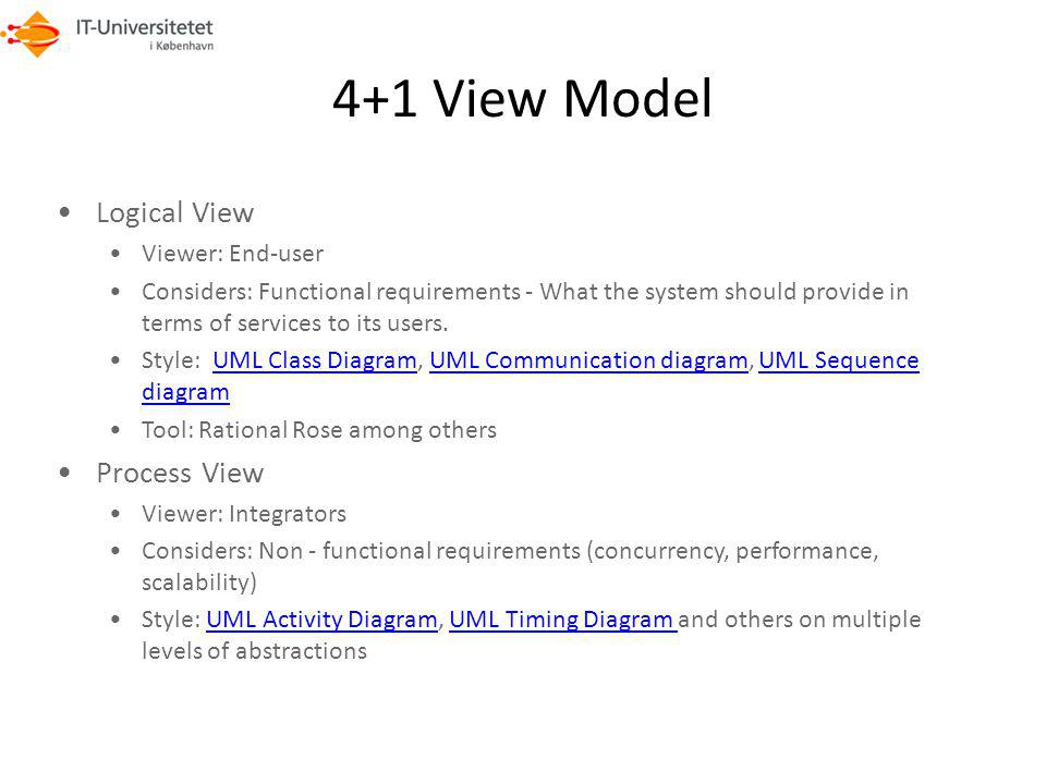 4+1 View Model Logical View Process View Viewer: End-user