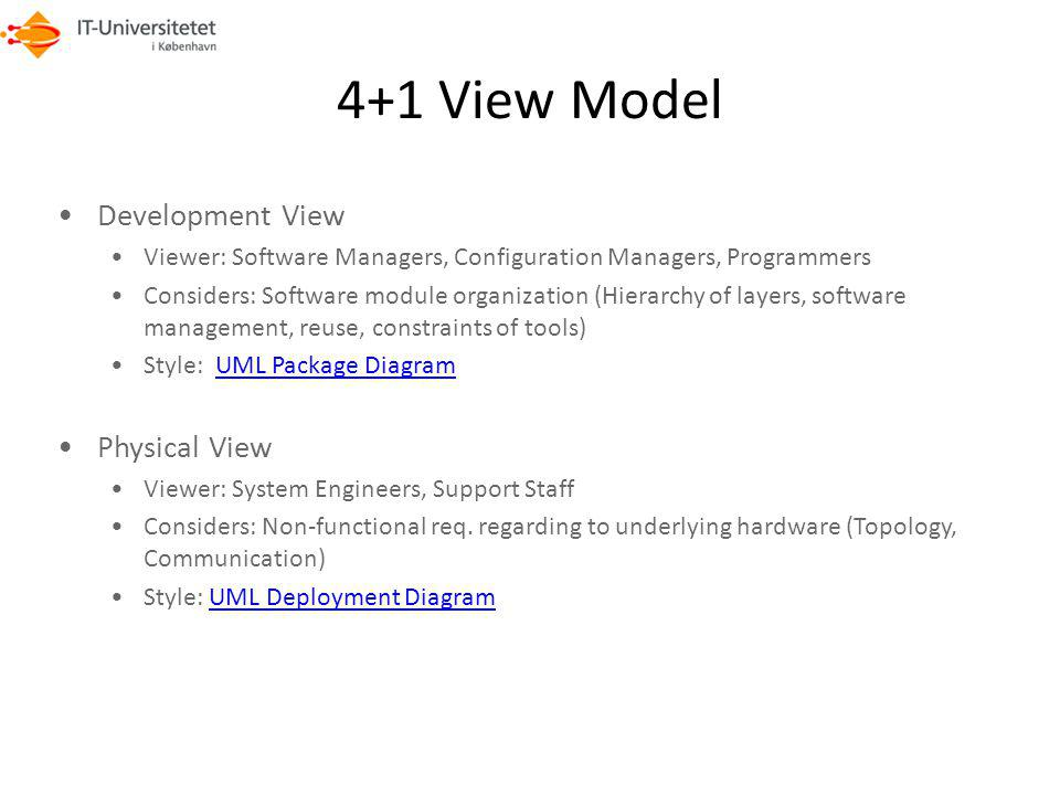 4+1 View Model Development View Physical View