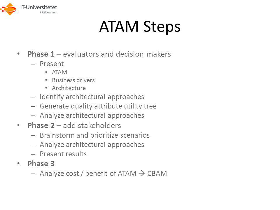 ATAM Steps Phase 1 – evaluators and decision makers