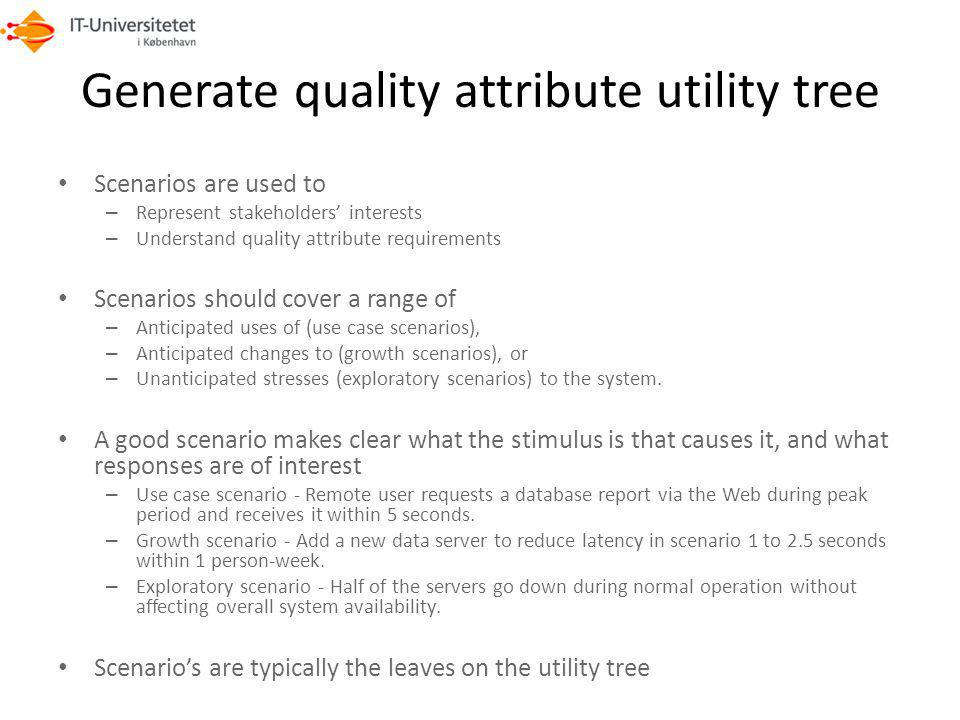 Generate quality attribute utility tree