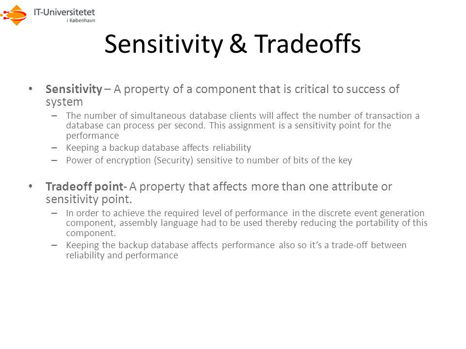 Sensitivity & Tradeoffs