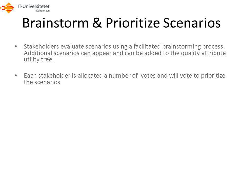 Brainstorm & Prioritize Scenarios