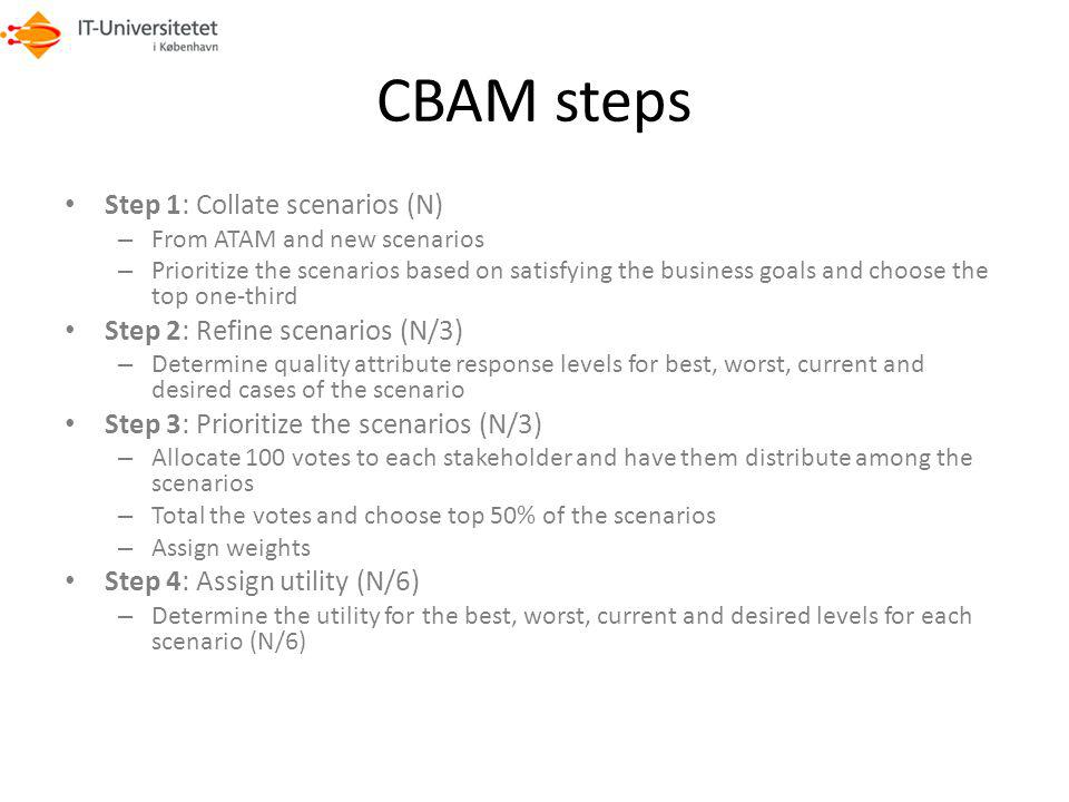 CBAM steps Step 1: Collate scenarios (N)