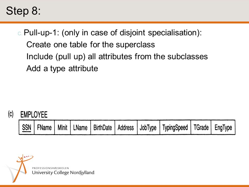 Step 8: Create one table for the superclass