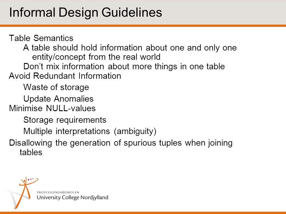 Informal Design Guidelines