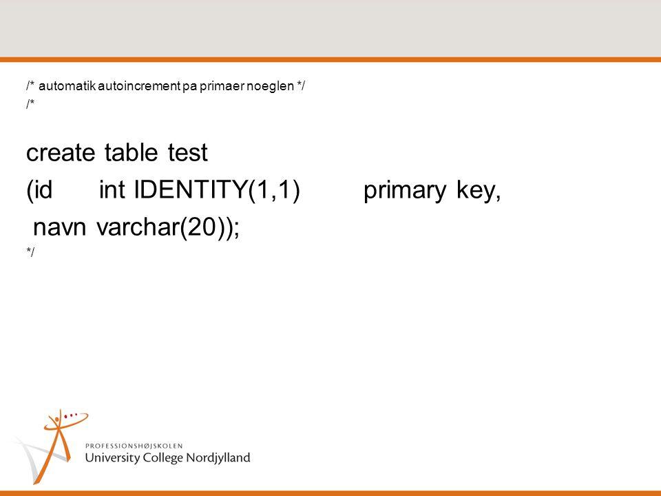 (id int IDENTITY(1,1) primary key, navn varchar(20));