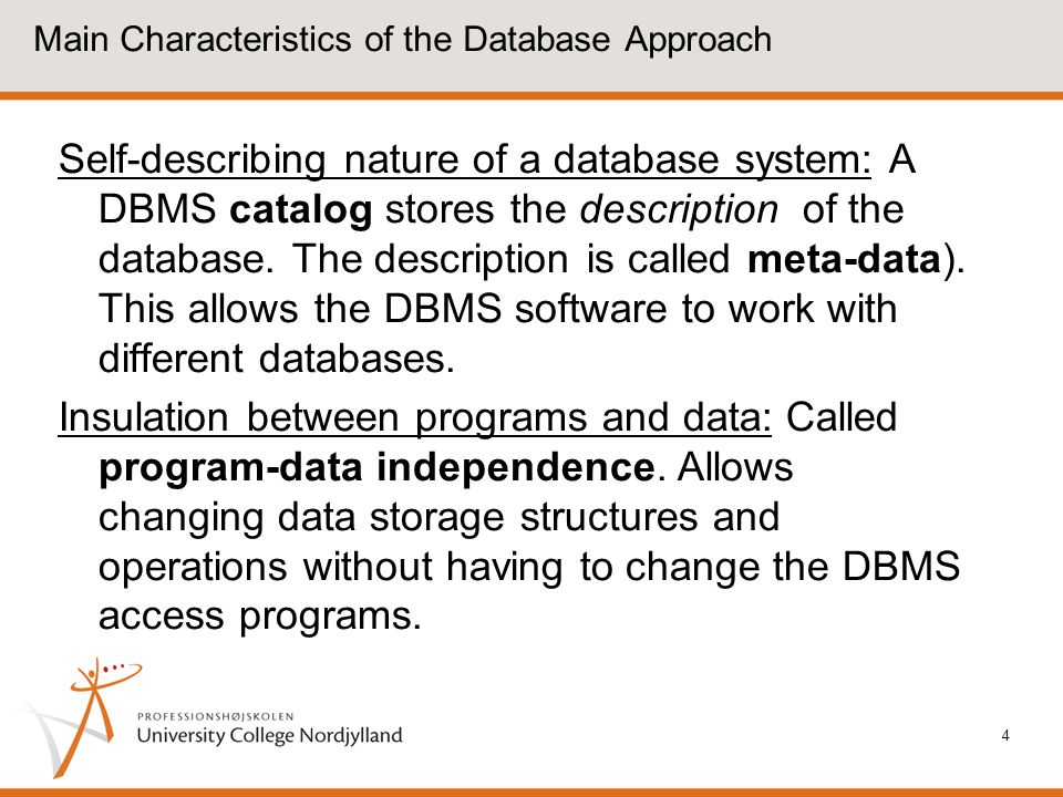 Main Characteristics of the Database Approach
