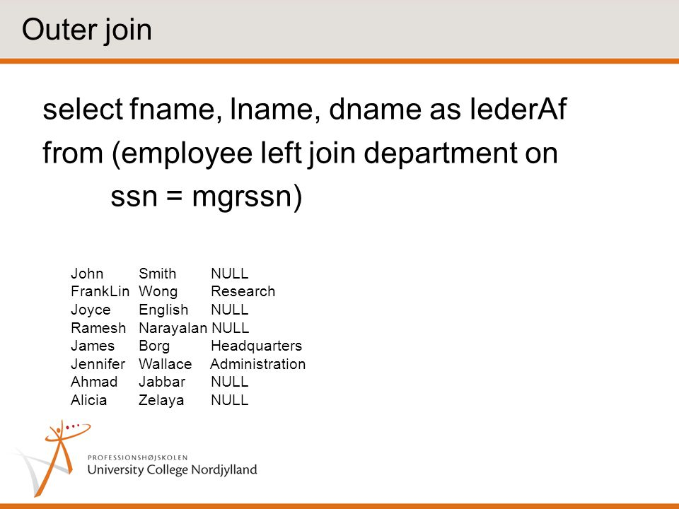 Outer join select fname, lname, dname as lederAf from (employee left join department on ssn = mgrssn)