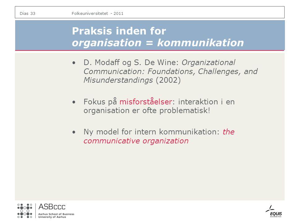 Praksis inden for organisation = kommunikation