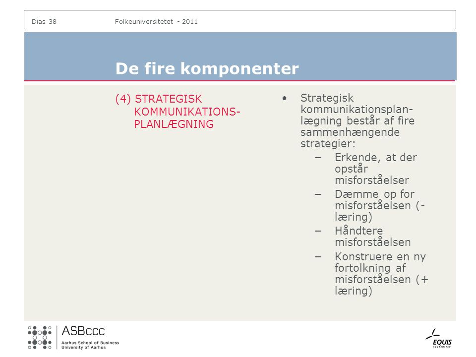 De fire komponenter (4) STRATEGISK KOMMUNIKATIONS-PLANLÆGNING