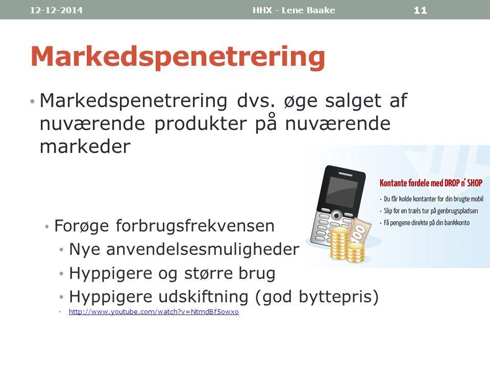 07-04-2017 HHX - Lene Baake. Markedspenetrering. Markedspenetrering dvs. øge salget af nuværende produkter på nuværende markeder.