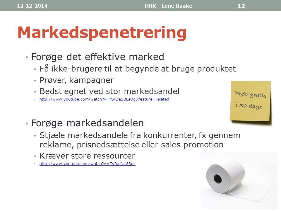 Markedspenetrering Forøge det effektive marked Forøge markedsandelen