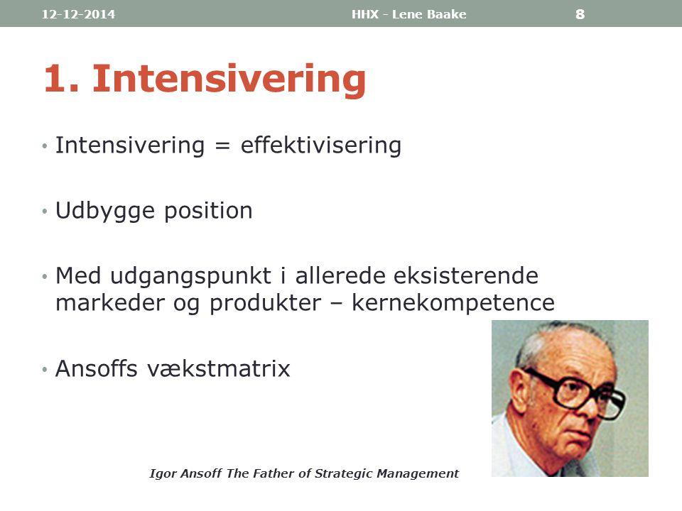 1. Intensivering Intensivering = effektivisering Udbygge position