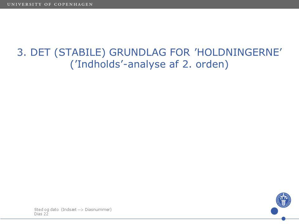 3. DET (STABILE) GRUNDLAG FOR 'HOLDNINGERNE' ('Indholds'-analyse af 2