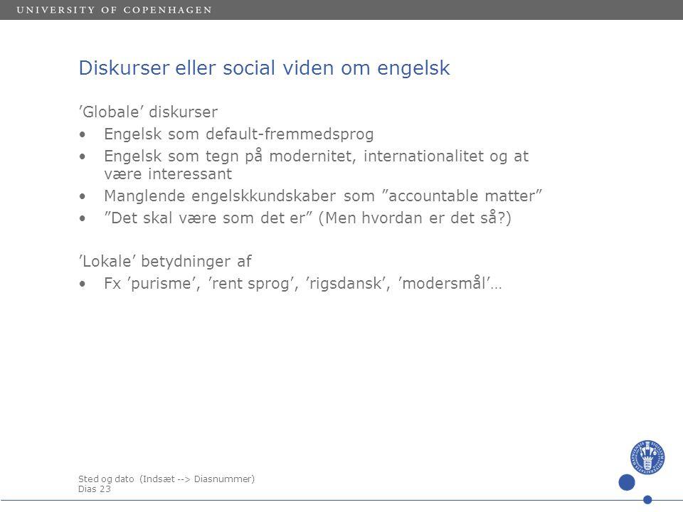 Diskurser eller social viden om engelsk
