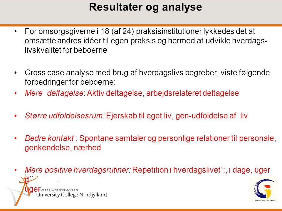 Resultater og analyse