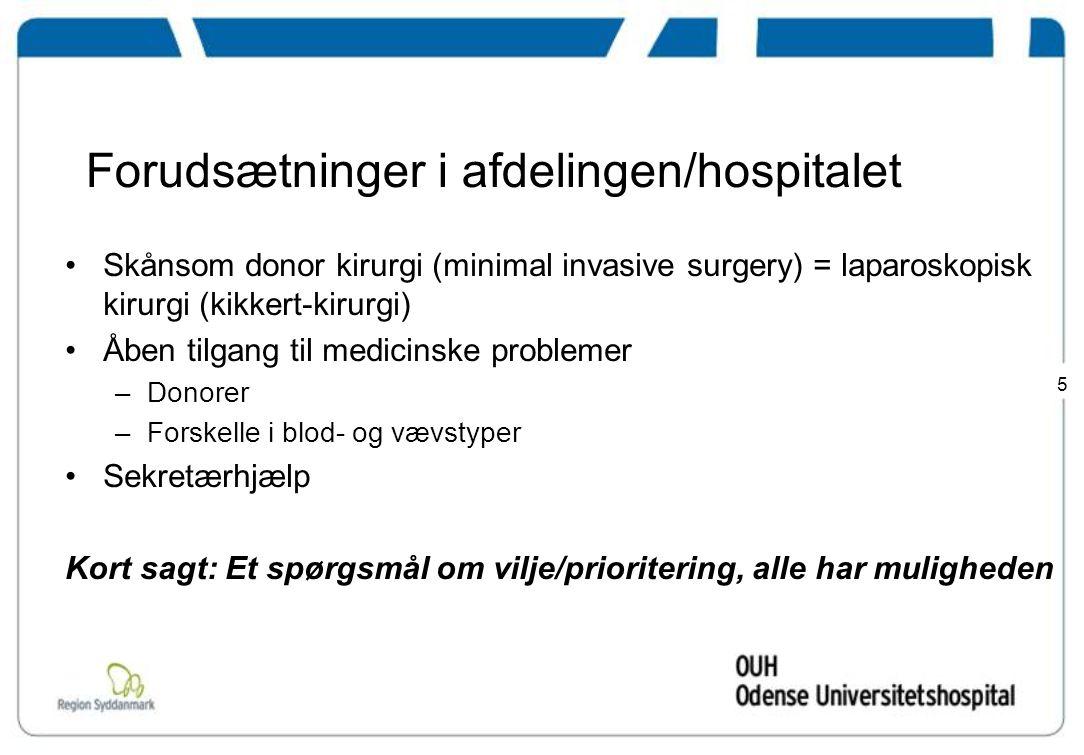 Forudsætninger i afdelingen/hospitalet