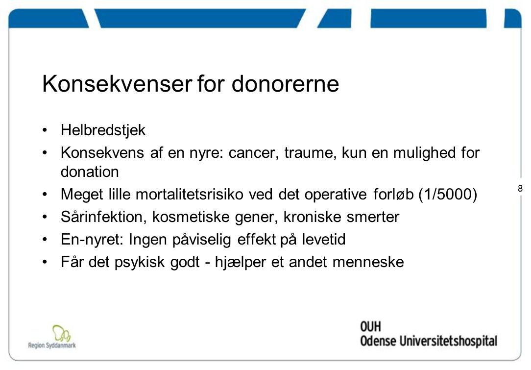 Konsekvenser for donorerne