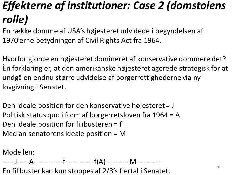 Effekterne af institutioner: Case 2 (domstolens rolle)