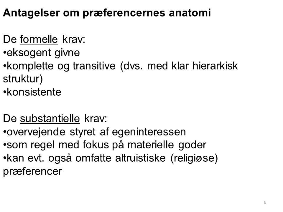 Antagelser om præferencernes anatomi