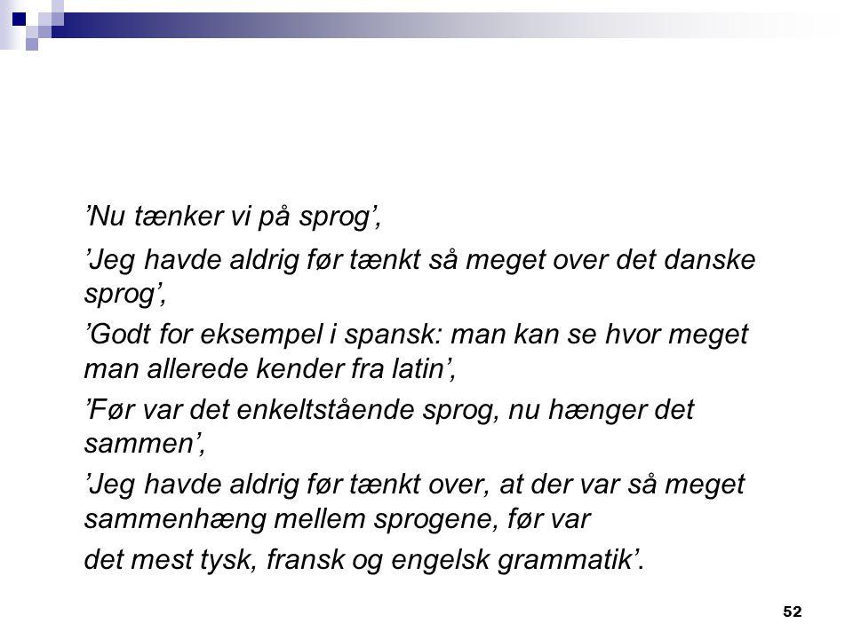 'Nu tænker vi på sprog', 'Jeg havde aldrig før tænkt så meget over det danske sprog',