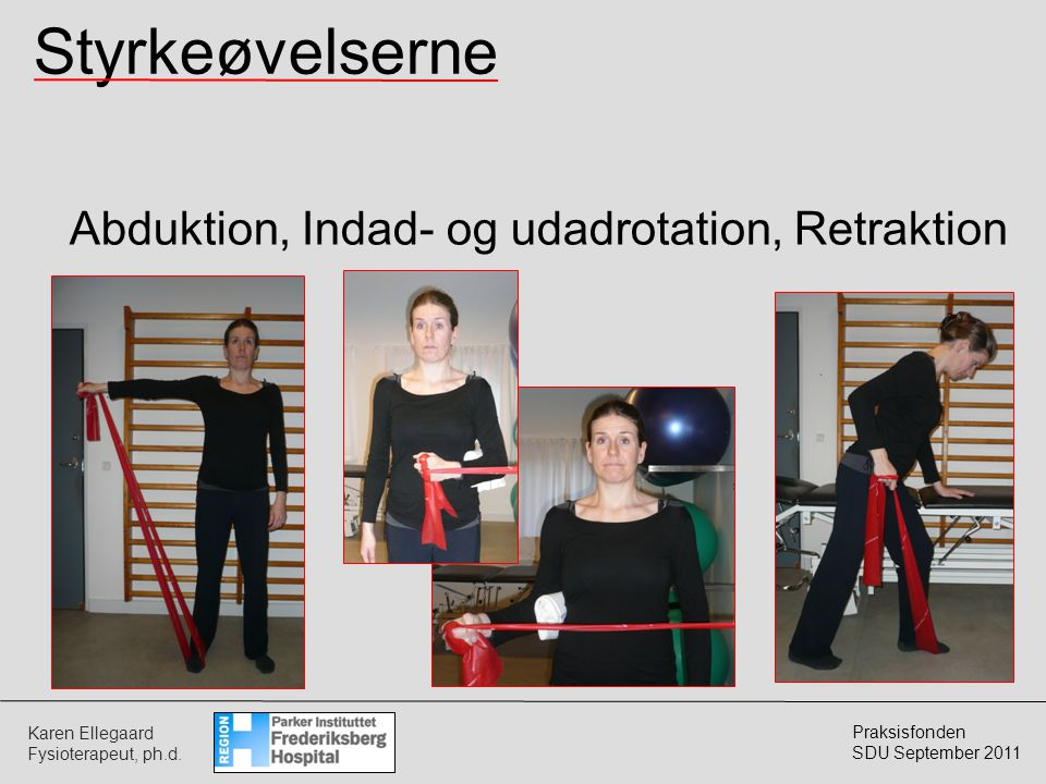 Styrkeøvelserne Abduktion, Indad- og udadrotation, Retraktion