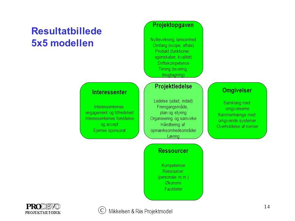Resultatbillede 5x5 modellen Projektopgaven Projektledelse Omgivelser