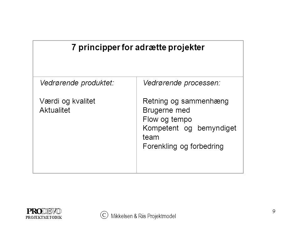 7 principper for adrætte projekter